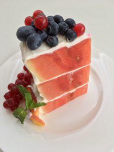 Melounový dort porce
